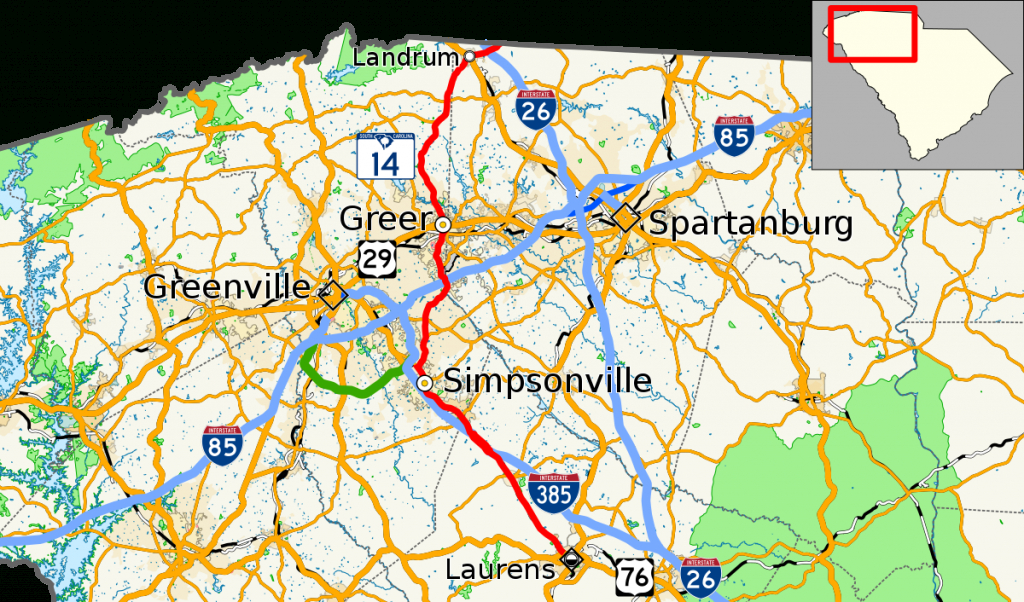 South Carolina Highway 14 - Wikipedia - Printable Street Map Of Greenville Nc