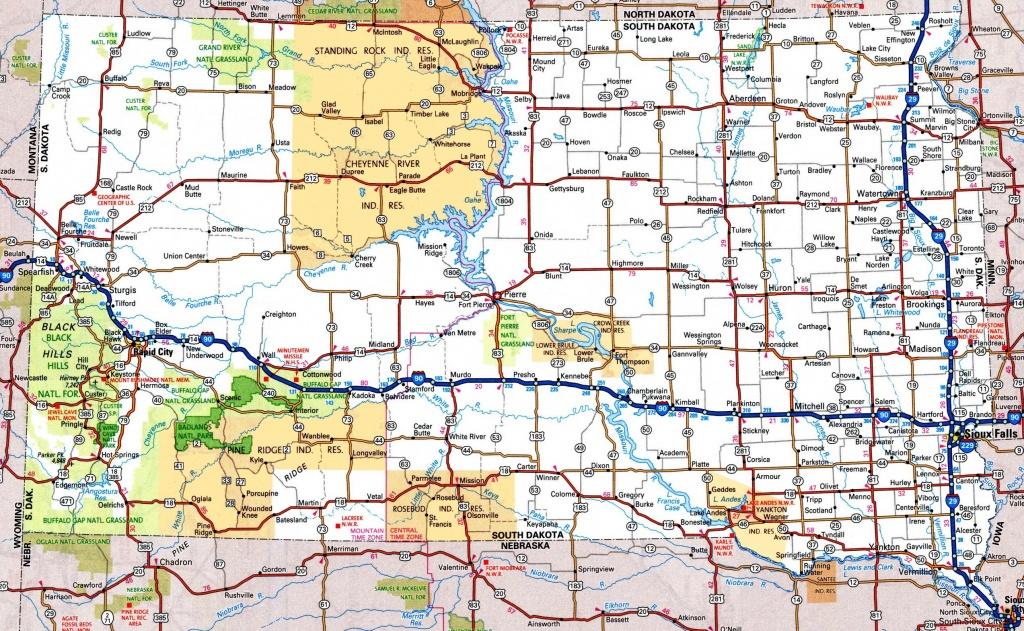 South Dakota Road Map - Printable Map Of North Dakota