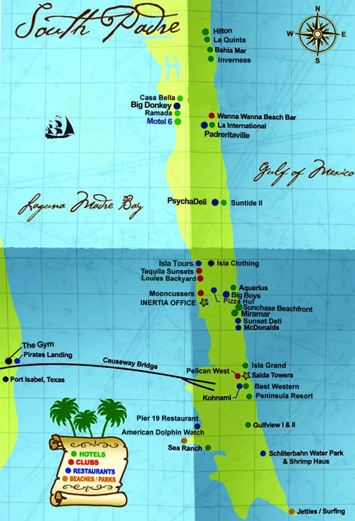 South Padre Island Map | South Padre Island Hotels South Padre - Texas Beaches Map