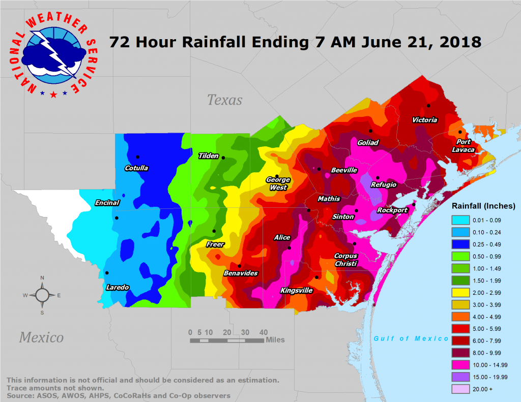 South Texas Heavy Rain And Flooding Event: June 18-21, 2018 - Texas Weather Map