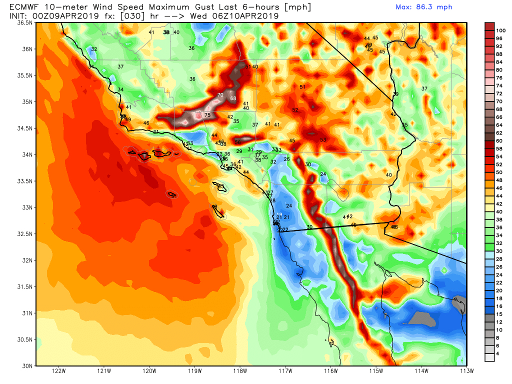 Southern California Faces Blast Of Strong Winds Tuesday Into - Real Time Wind Map California