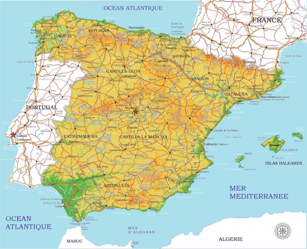 Spain Map Vector 01 Printable Administrative Terrain Editable Corel Draw - Printable Map Of Spain