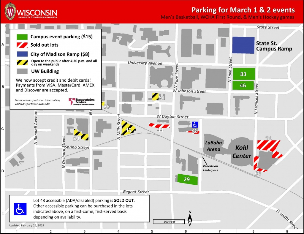Sporting Events March 1-3, 2019 – Transportation Services – Uw–Madison - Uw Madison Campus Map Printable