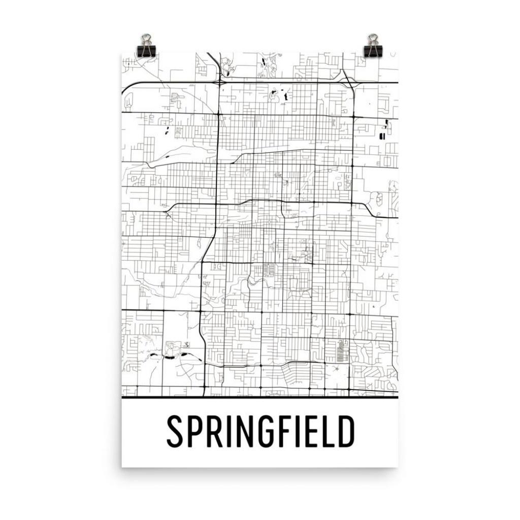 Springfield Map Springfield Mo Art Springfield Print | Etsy - Printable Map Of Springfield Mo