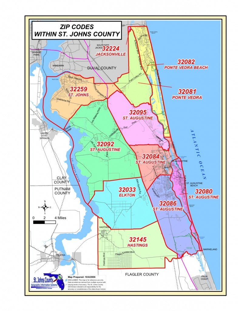 St Augustine Fl Zip Code Map | Danielrossi - Where Is St Augustine Florida On The Map