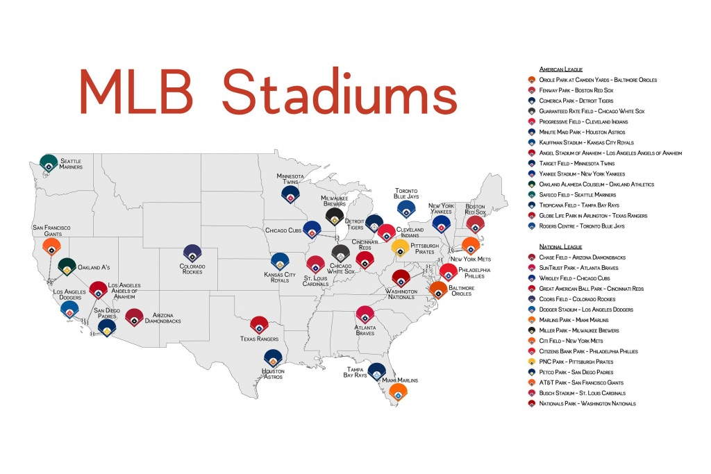 Stadium Map Stadium Checklist Baseball Stadiums Map Mlb   Ballpark - Printable Map Of Mlb Stadiums