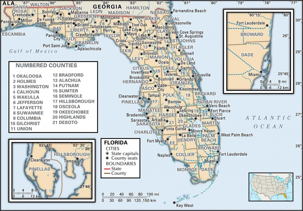 State And County Maps Of Florida - Printable Map Of Florida Cities