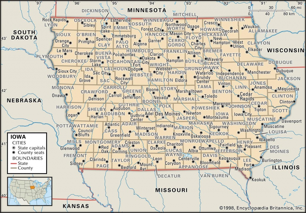 State And County Maps Of Iowa - Printable Iowa Road Map
