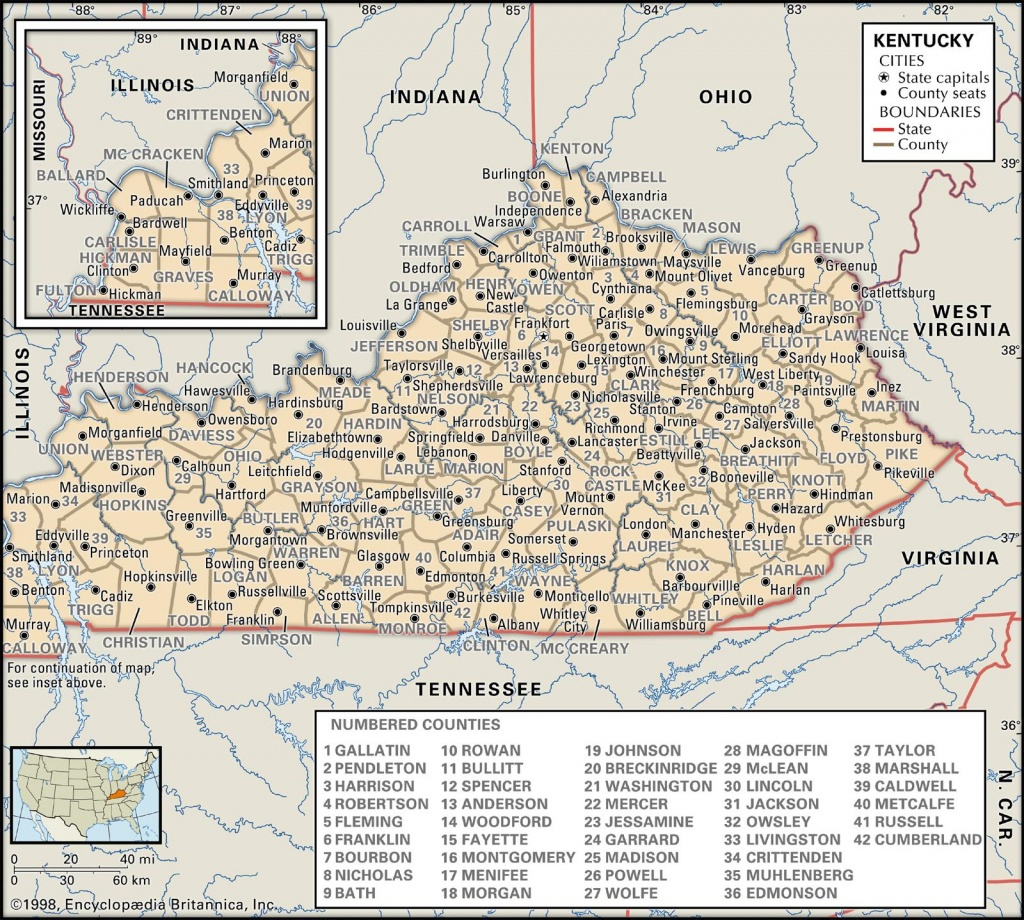 State And County Maps Of Kentucky - Printable Map Of Kentucky