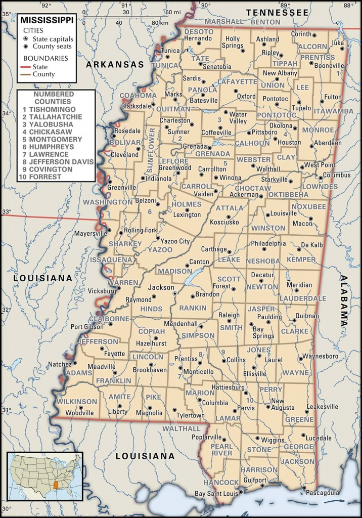 State And County Maps Of Mississippi - Printable Map Of Ms