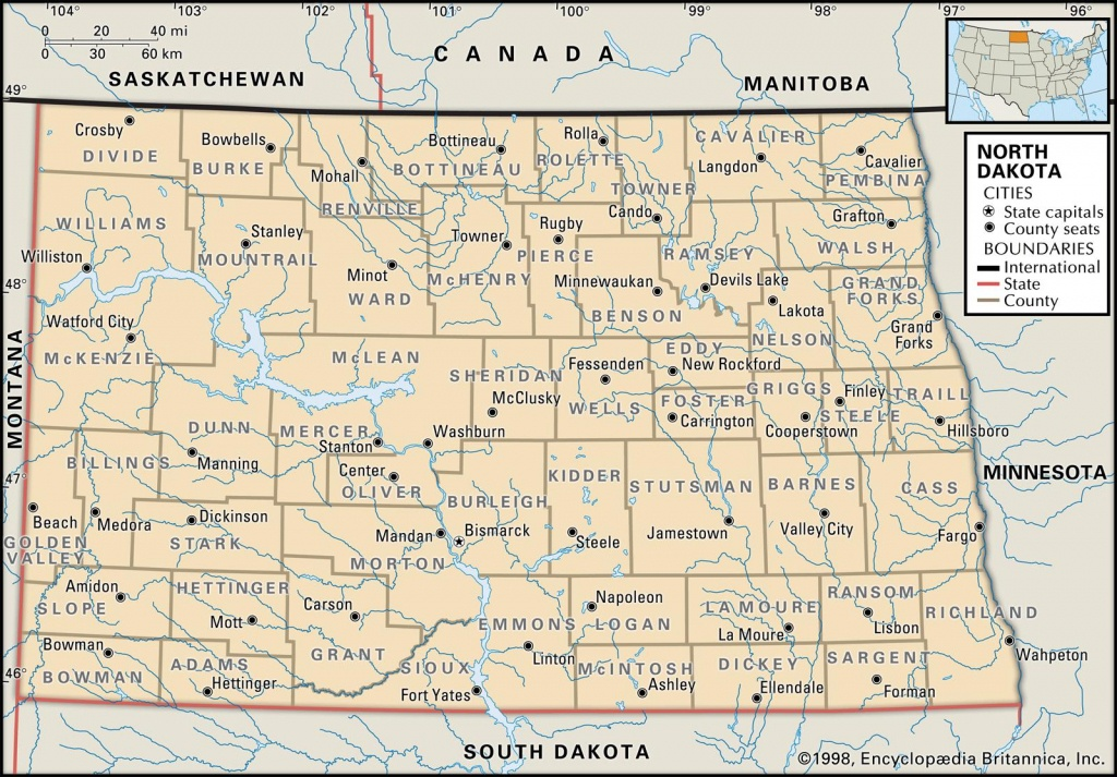 State And County Maps Of North Dakota - Printable Map Of North Dakota