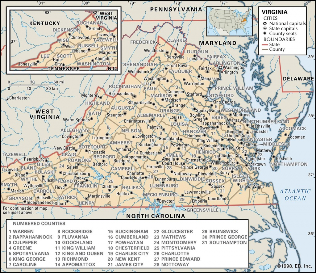 State And County Maps Of Virginia - Printable Map Of Virginia