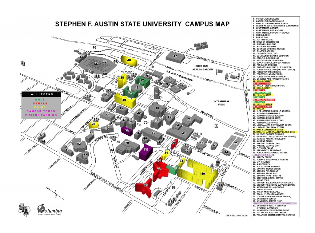 Stephen F Austin State University Campus Map - Nacogdoches Tx - Texas State Dorm Map