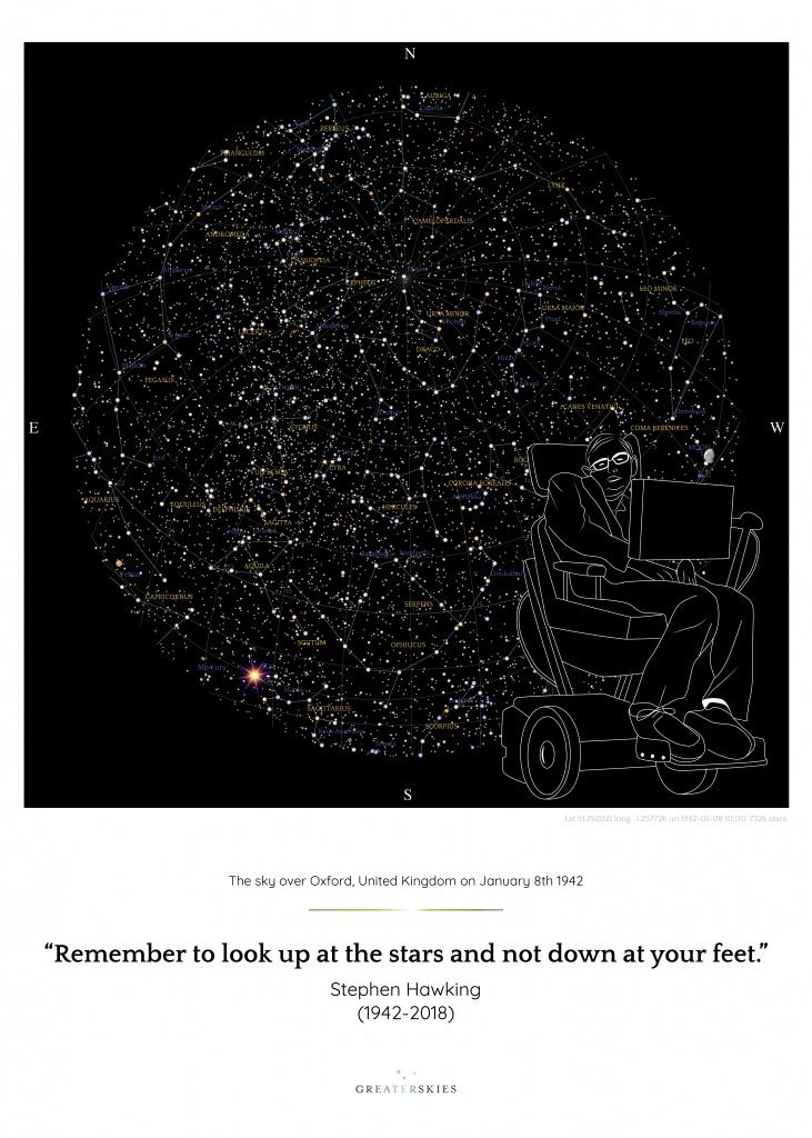 Stephen Hawking Commemorative Star Map - Greaterskies - Free Printable Star Maps