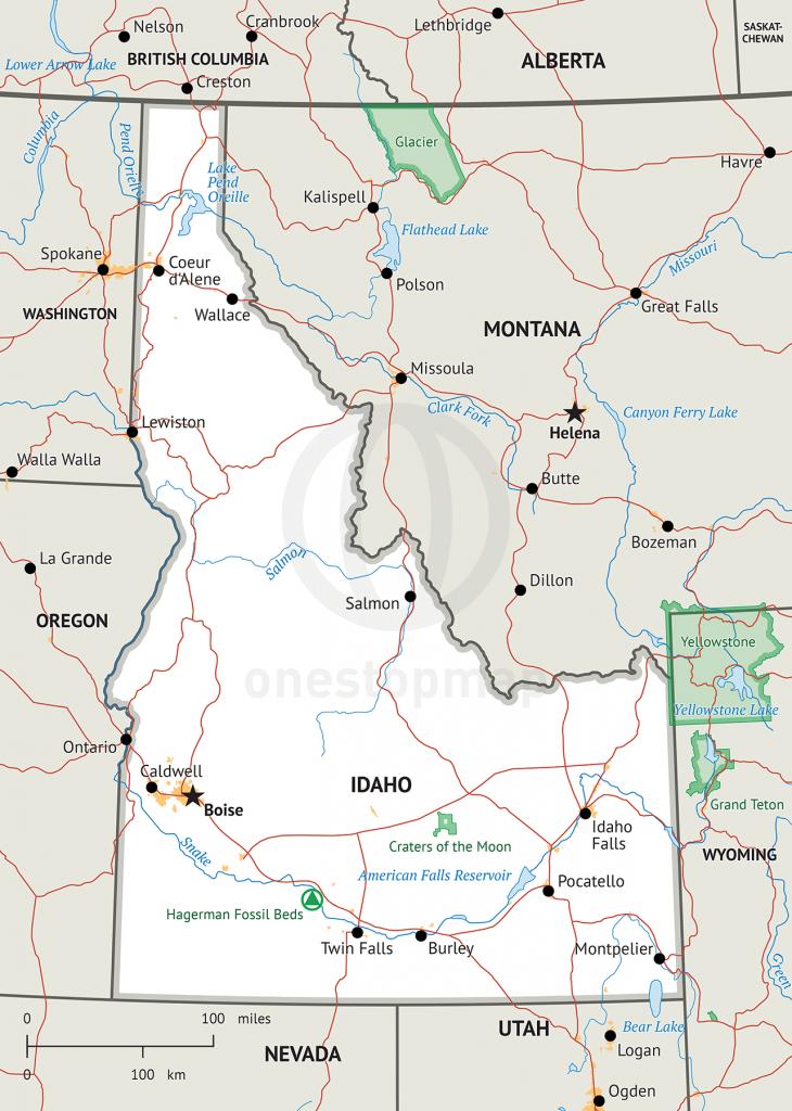 Stock Vector Map Of Idaho   One Stop Map - Printable Map Of Idaho