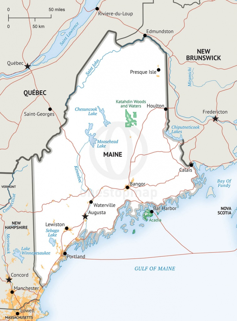 Stock Vector Map Of Maine   One Stop Map - Printable Map Of Maine Coast