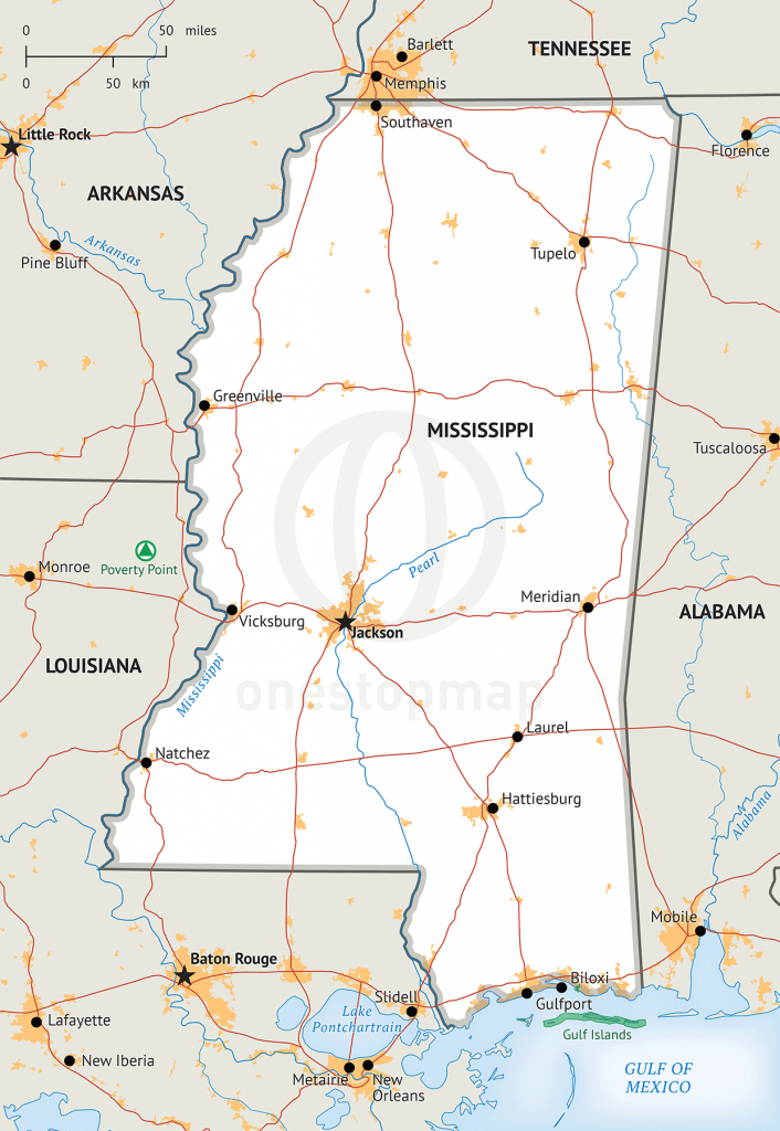 It's just a picture of Accomplished Printable Map of Mississippi