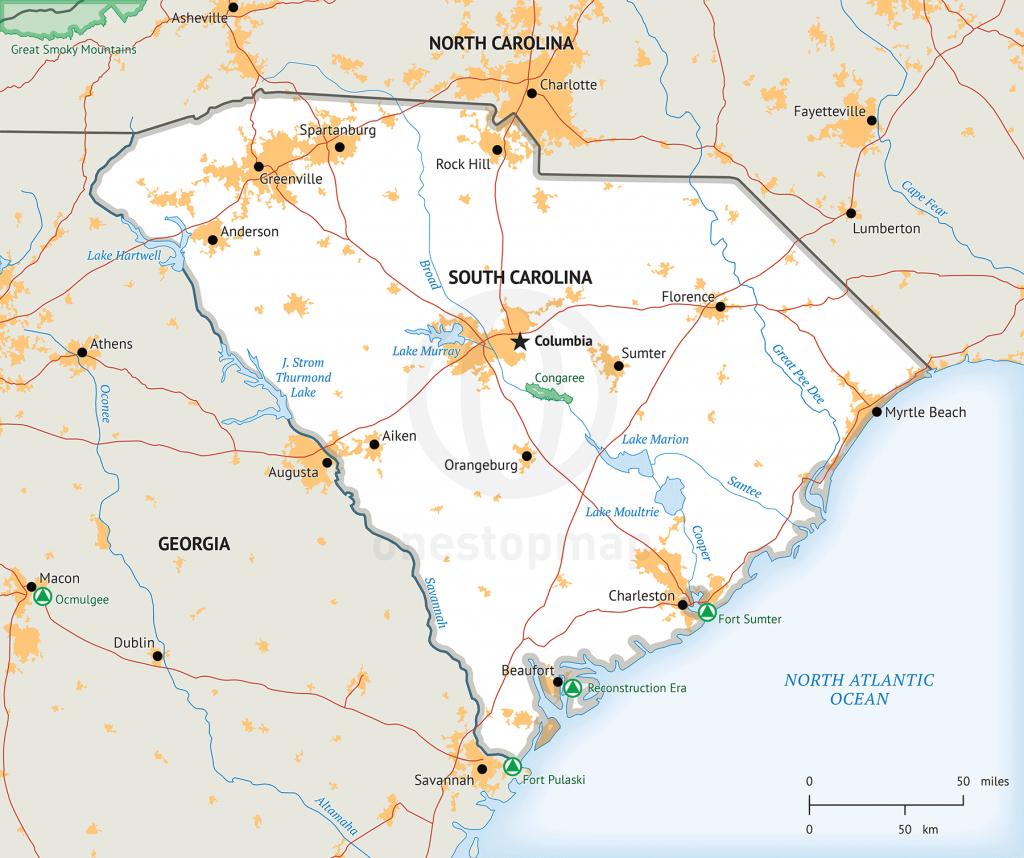 Stock Vector Map Of South Carolina   One Stop Map - Printable Map Of South Carolina