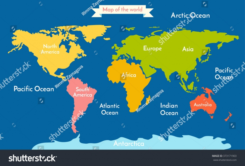 Stock Vector World Map Illustration With The Inscription Of Oceans - Printable World Map With Continents And Oceans Labeled