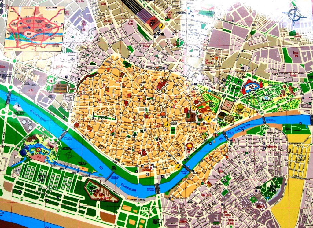 Streets Map Of Seville With Town Sights - Spain | Sevilla | Seville - Seville Tourist Map Printable
