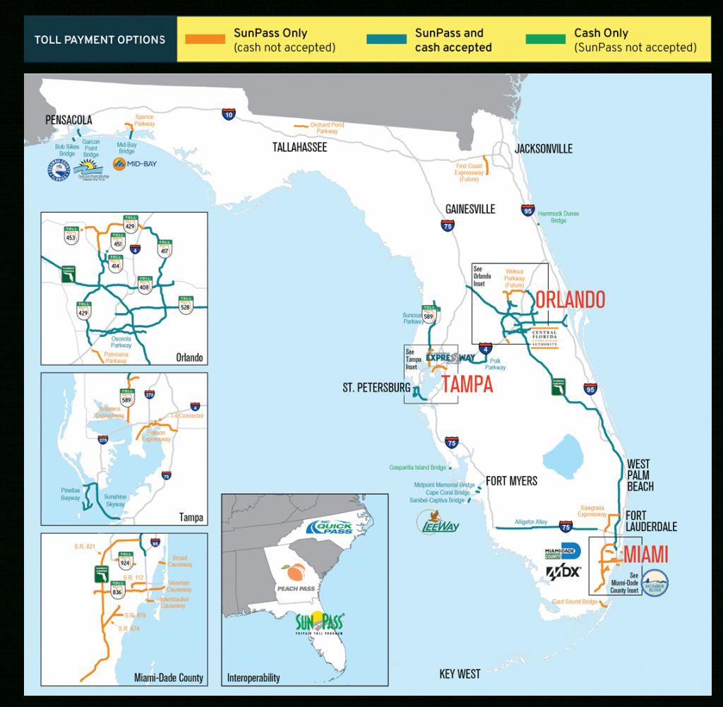 Sunpass : Tolls - Map Of Florida Naples Tampa