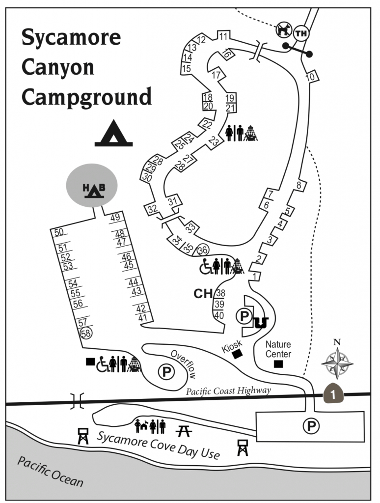 Sycamore Canyon - Campsite Photo And Camping Information - Southern California Campgrounds Map