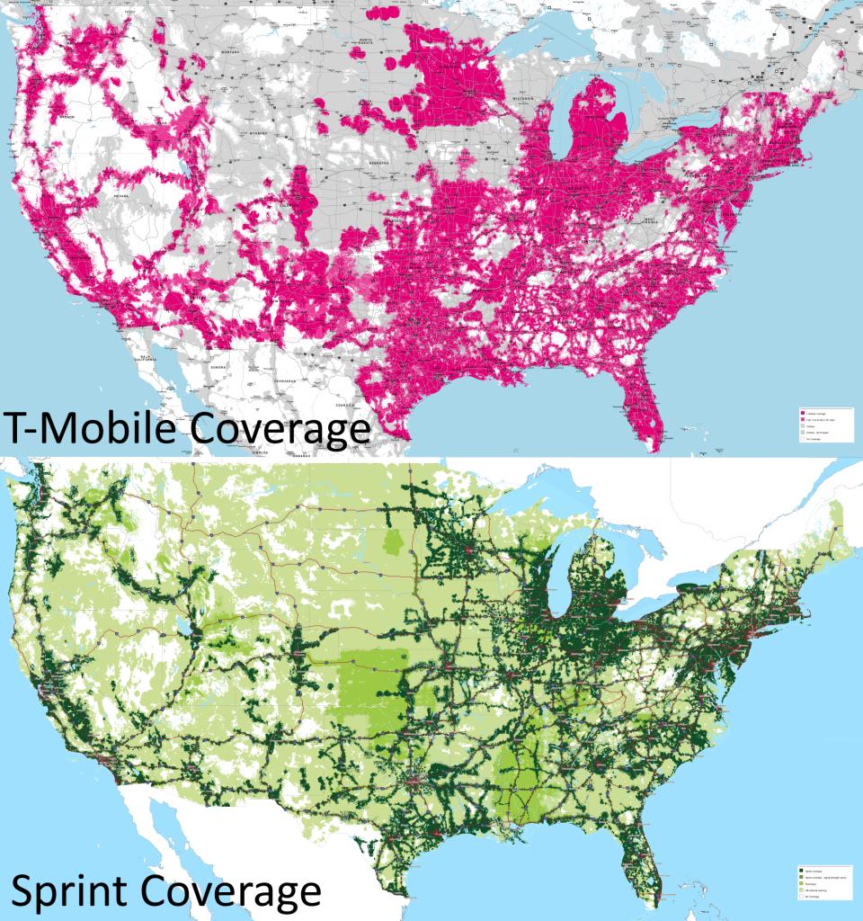 T-Mobile Vs Sprint Coverage Maps (11-15-2015) : Tmobile - Sprint Coverage Map Southern California