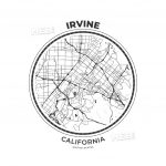 T-Shirt Map Badge Of Irvine, California | Hebstreits Sketches - California Map Shirt