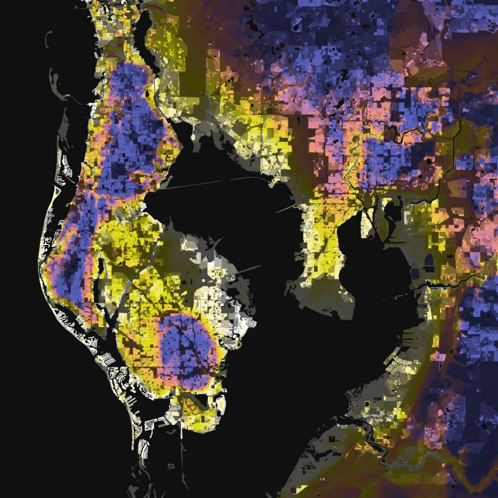 Tampa-St. Petersburg, Florida – Elevation And Population Density, 2010 - Florida Land Elevation Map