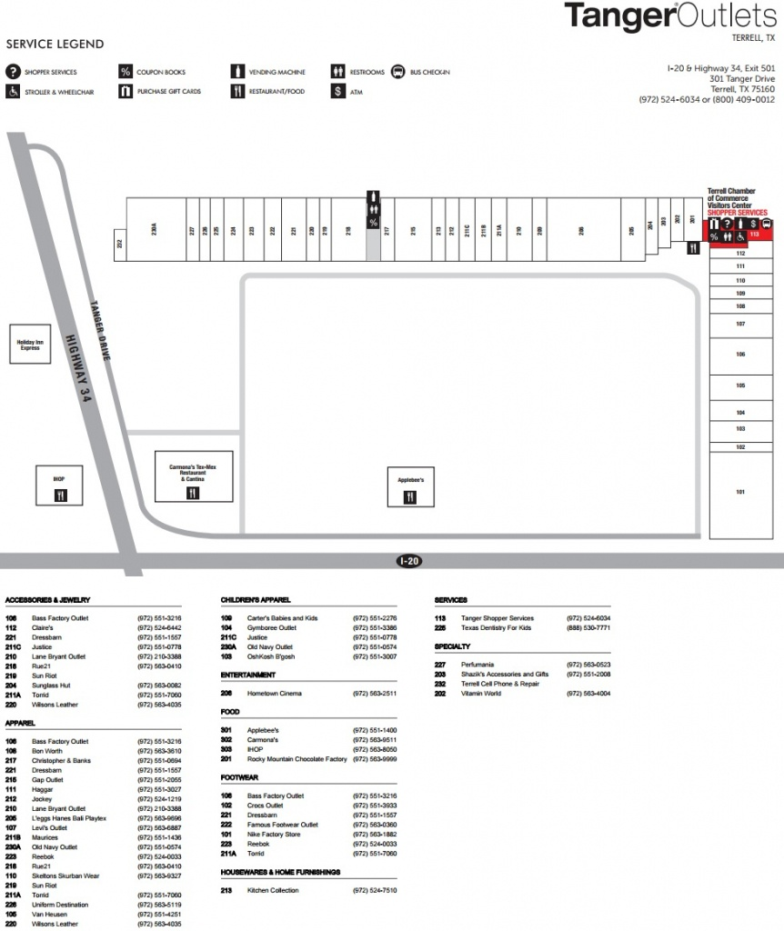 Tanger Outlet Terrell (42 Stores) - Outlet Shopping In Terrell - Tanger Outlets Texas City Stores Map