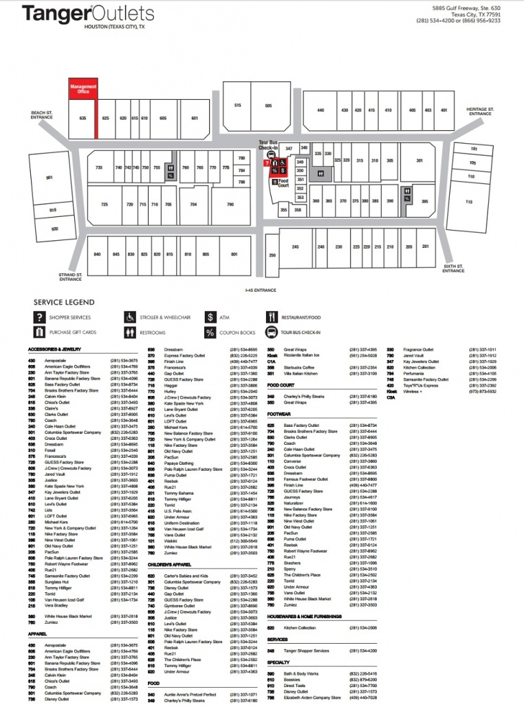 Tanger Outlets Houston (89 Stores) - Outlet Shopping In Texas City - Tanger Outlets Texas City Stores Map