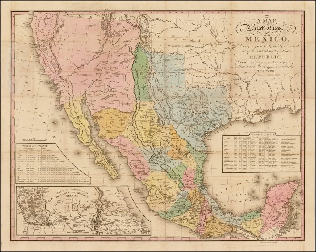 Tanner's Map Of Mexico - Rare & Antique Maps - Vintage Texas Maps For Sale