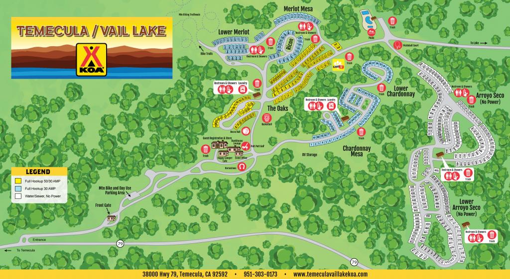 Temecula, California Campground | Temecula / Vail Lake Koa - California Campgrounds Map