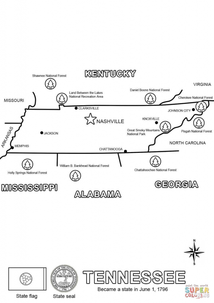 Tennessee State Map Coloring Page | Free Printable Coloring Pages - State Map Of Tennessee Printable