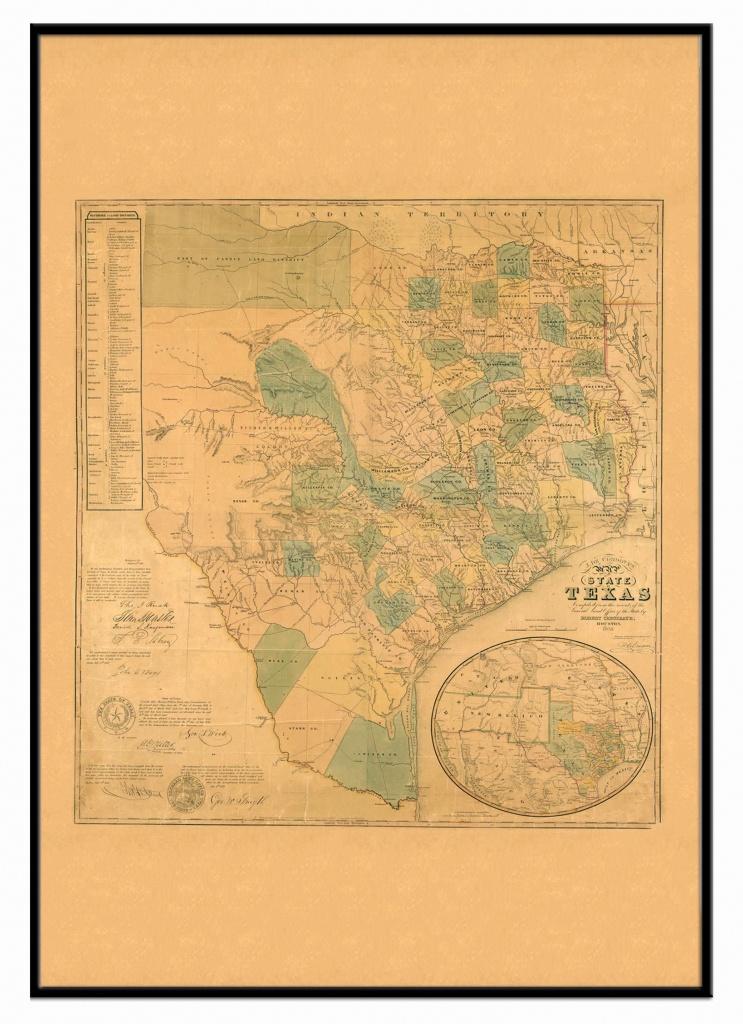 Texas 1853 Historical Print Framed Wall Map (Black) – Kappa Map Group - Texas Wall Map