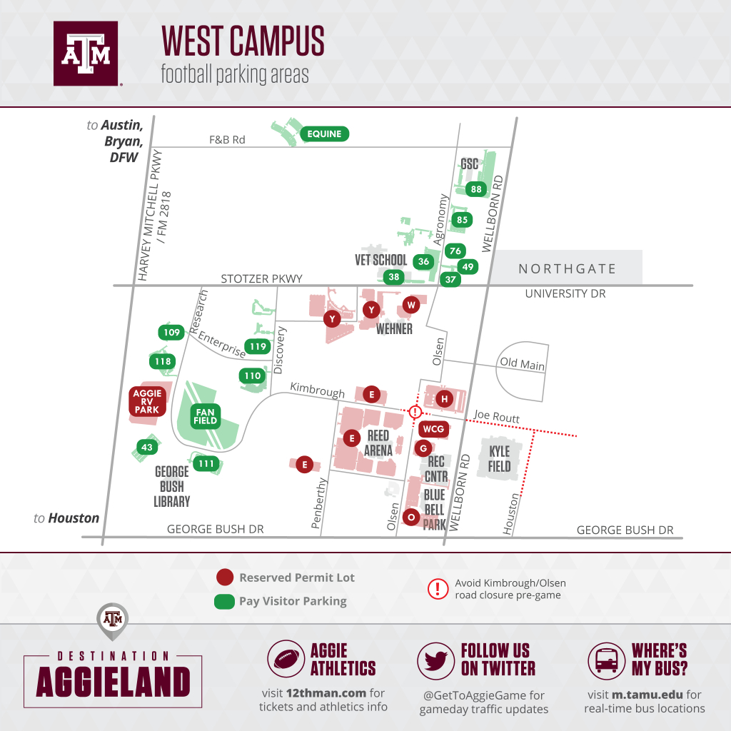 Texas A&m Football Gameday - 12Thman - Texas A&m Parking Lot Map