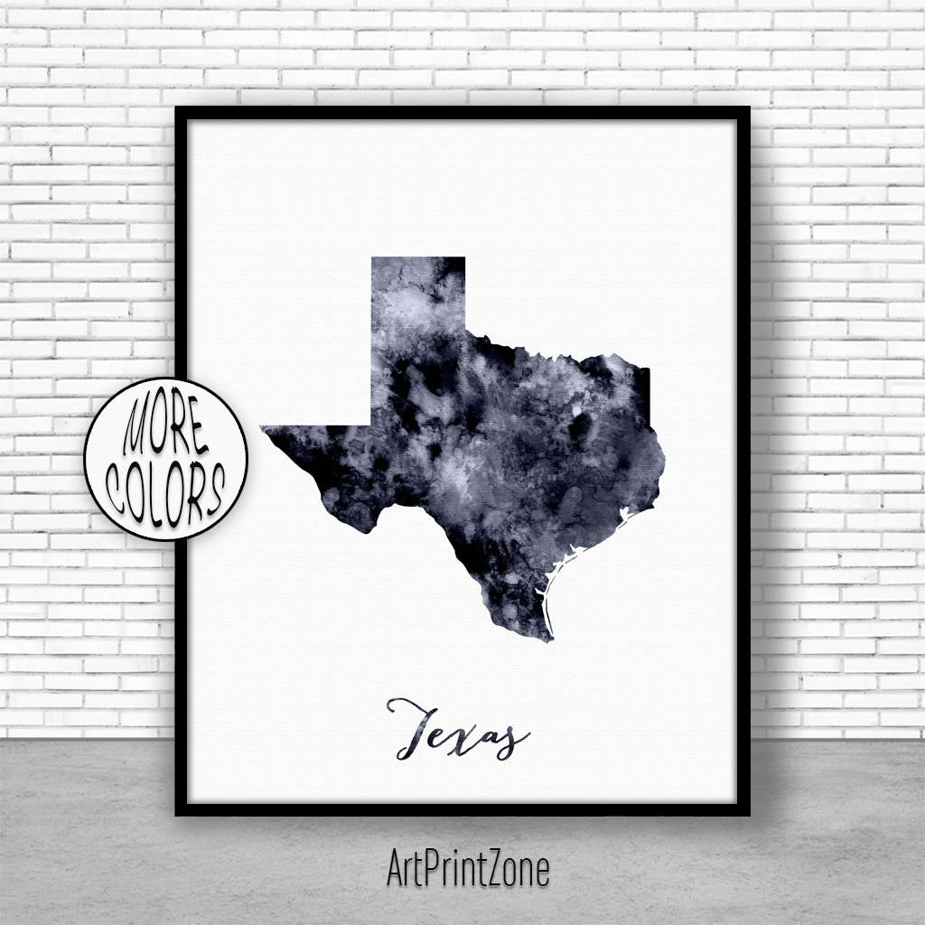 Texas Art Print Texas Decor Texas Print Texas Map Art Print Map - Texas Map Artwork