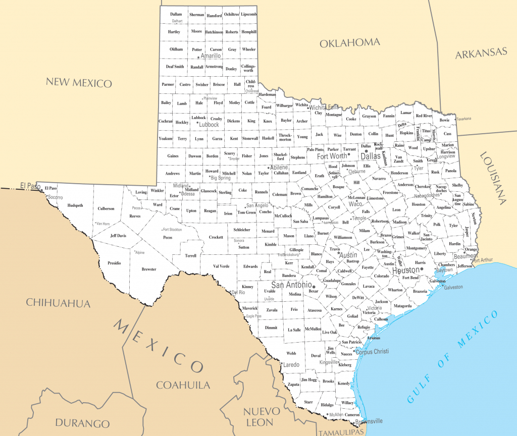 Texas Cities And Towns • Mapsof - Full Map Of Texas