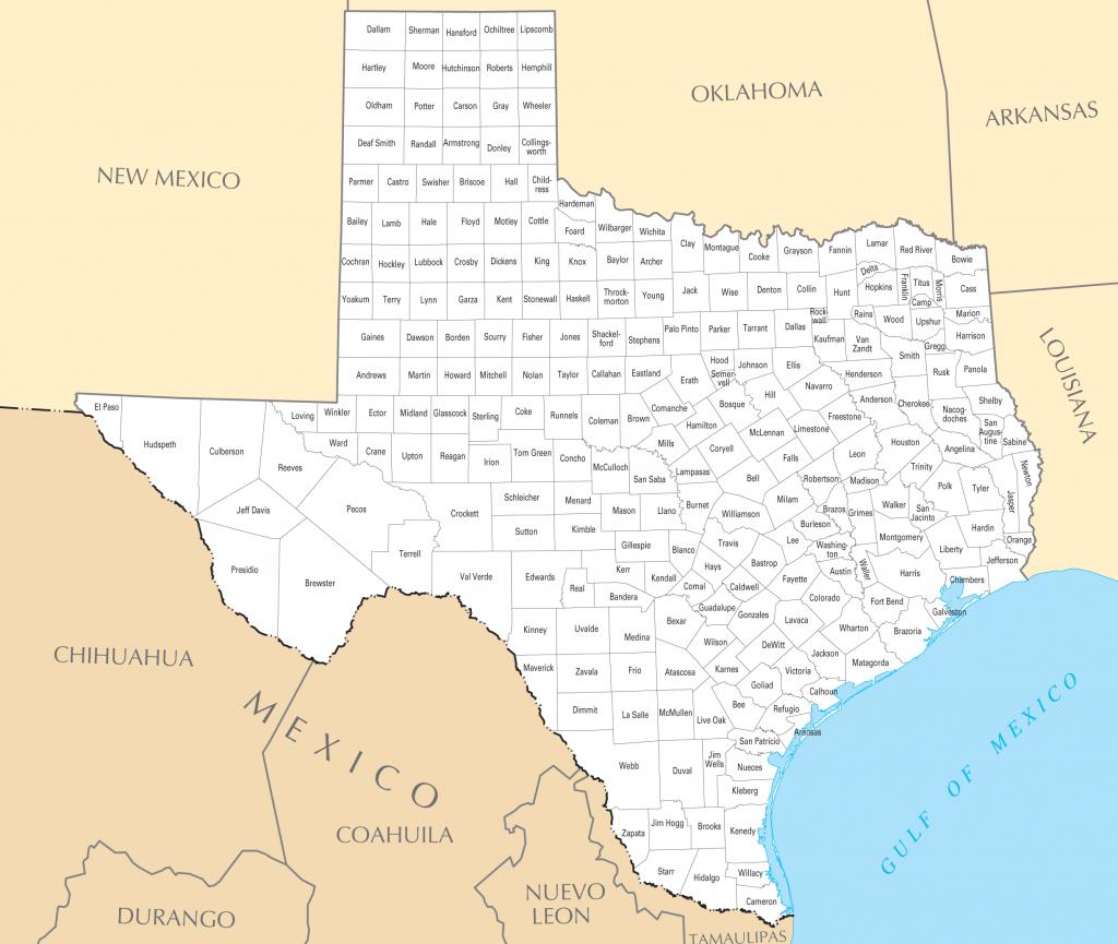 Texas County Map • Mapsof - Texas Lakes Map