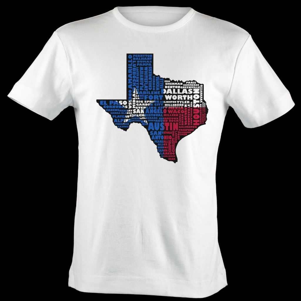 Texas Flag Shirt Map Art | Texas Typography Map T-Shirt - Texas Not Texas Map T Shirt