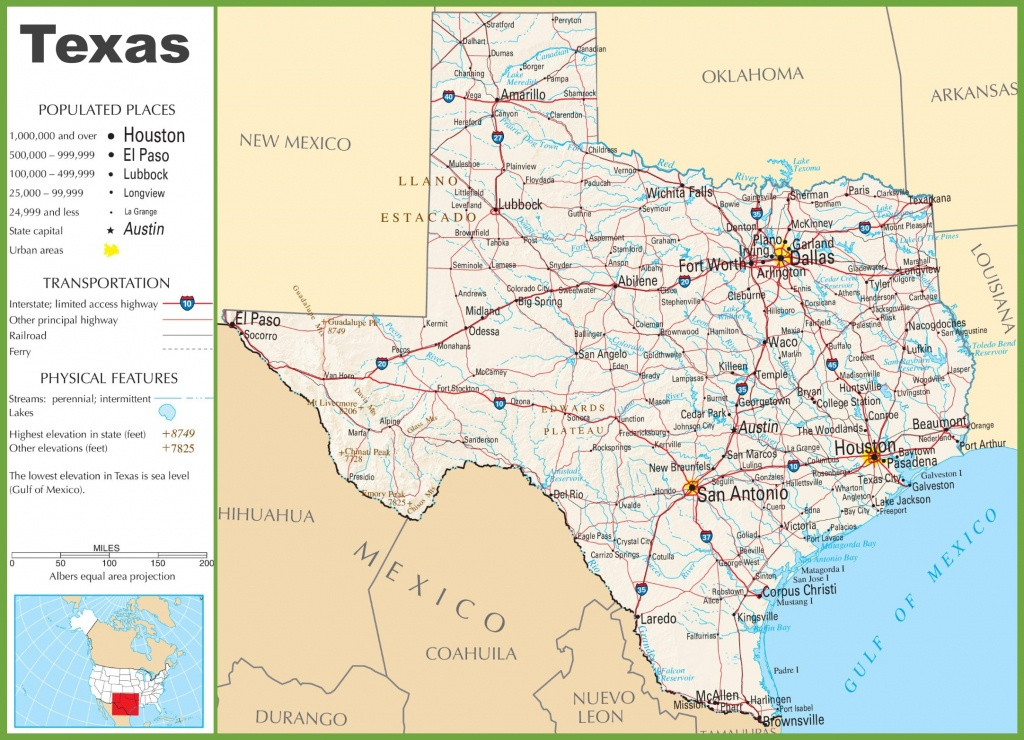Texas Highway Map - Printable Map Of Texas With Cities