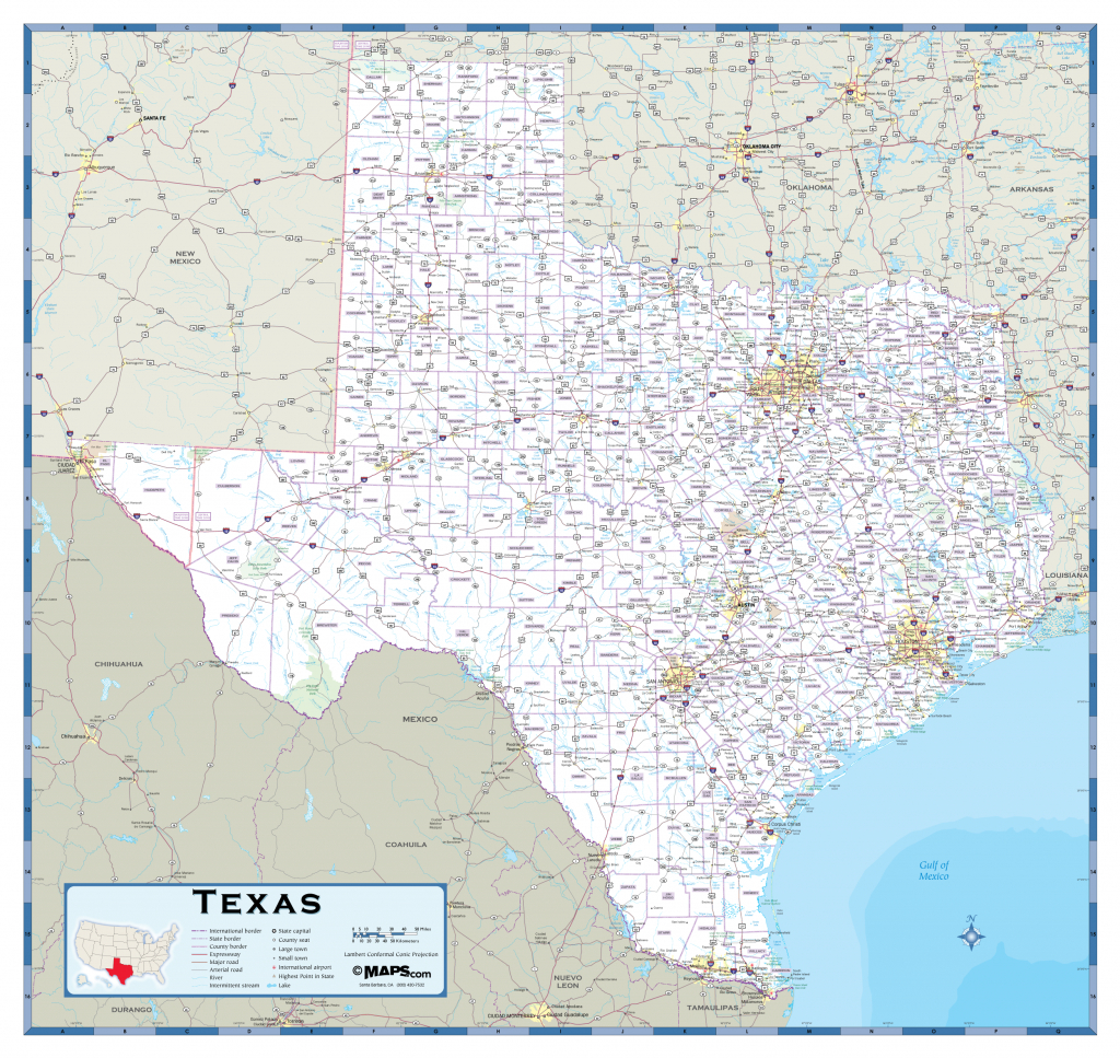 Texas Highway Wall Map - Maps - Full Map Of Texas