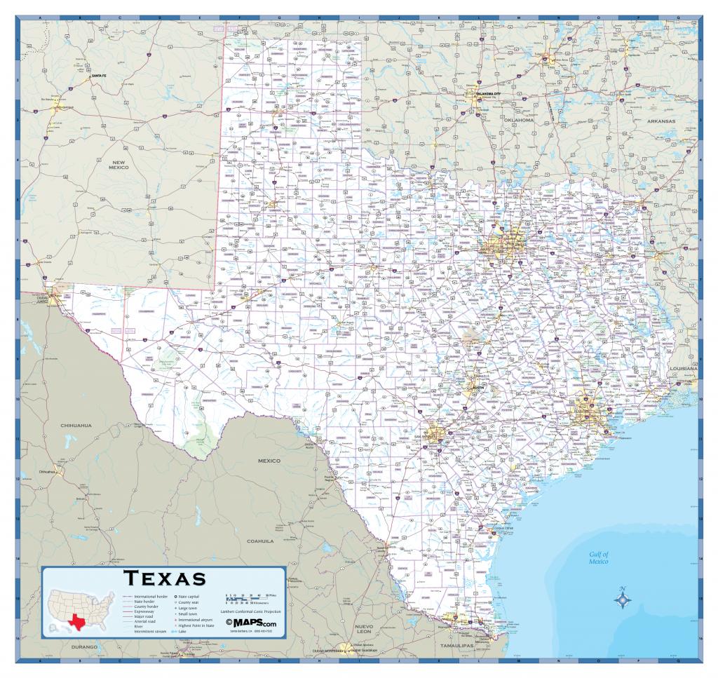 Texas Highway Wall Map - Maps - Rand Mcnally Texas Road Map