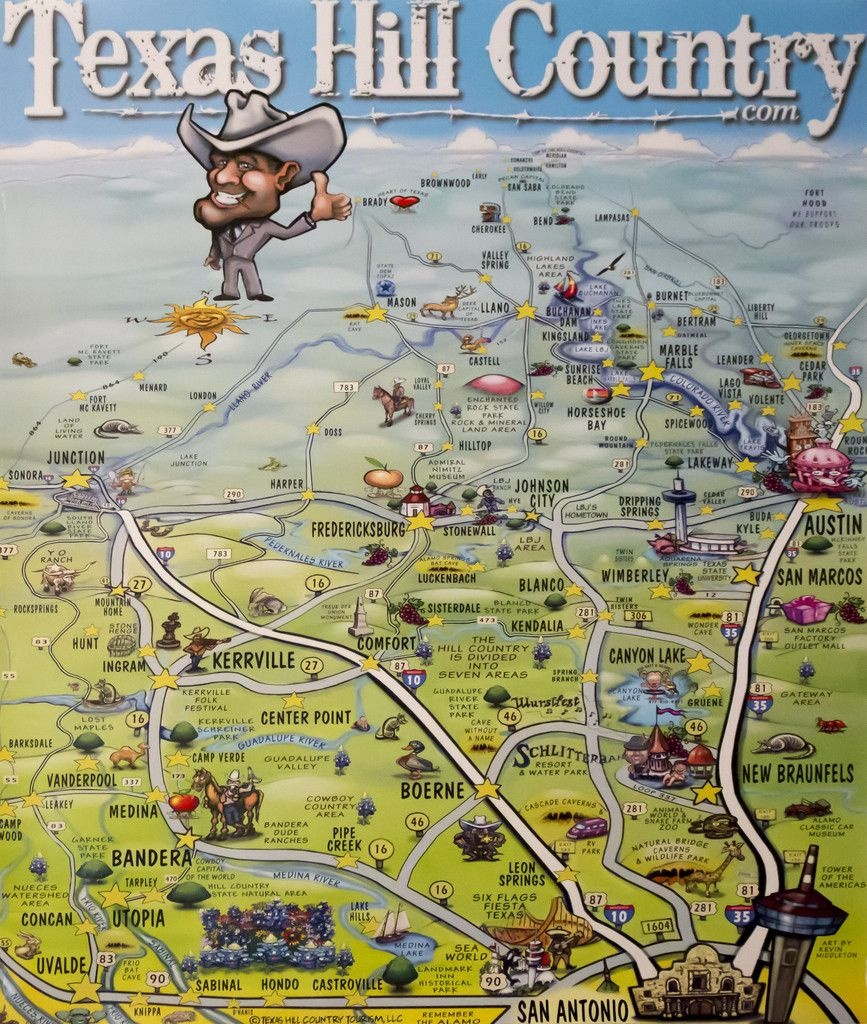 Texas Hill Country Caricature Map Poster | Texas | Texas Hill - Texas Map Poster