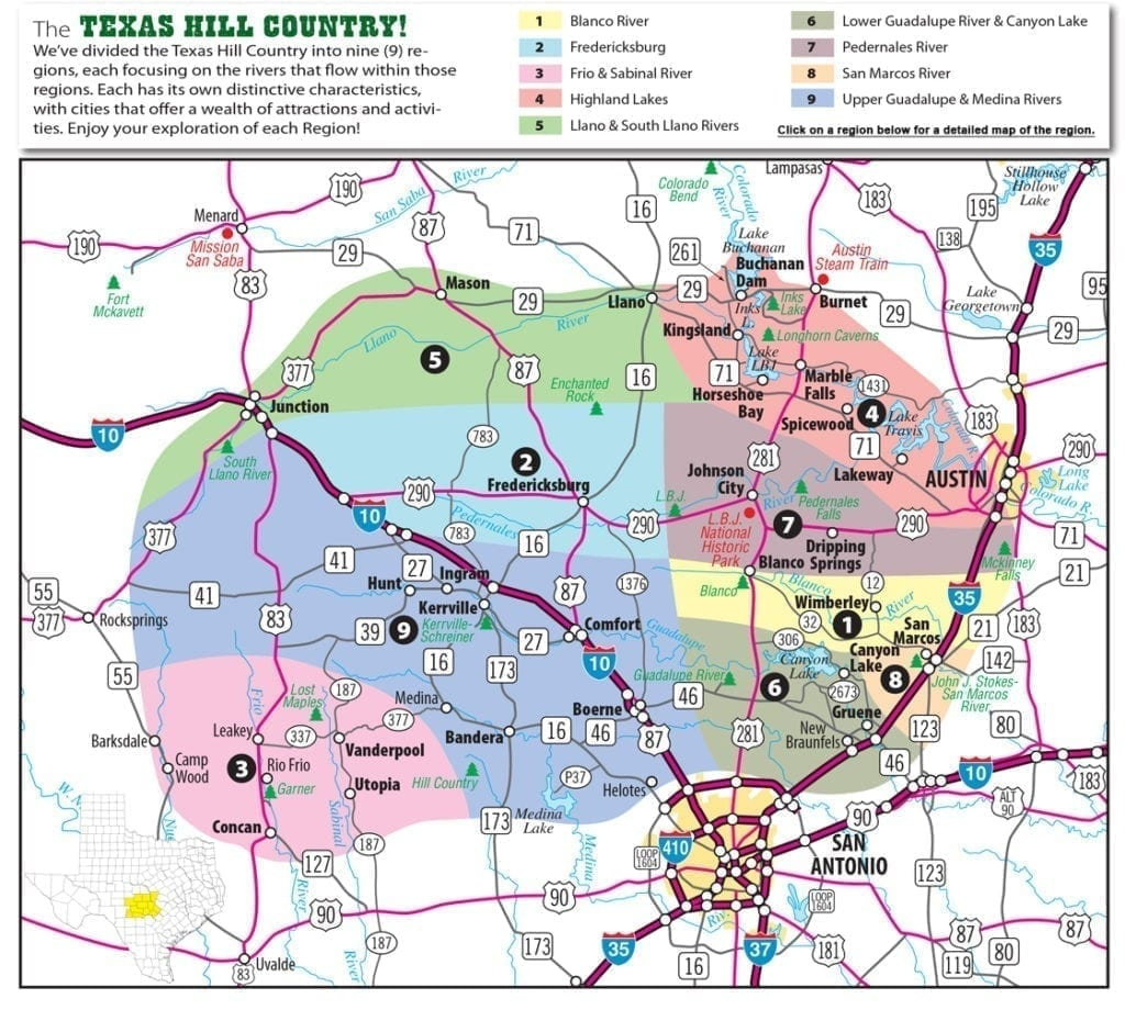 Texas Hill Country Map With Cities & Regions · Hill-Country-Visitor - Texas Hill Country Wineries Map