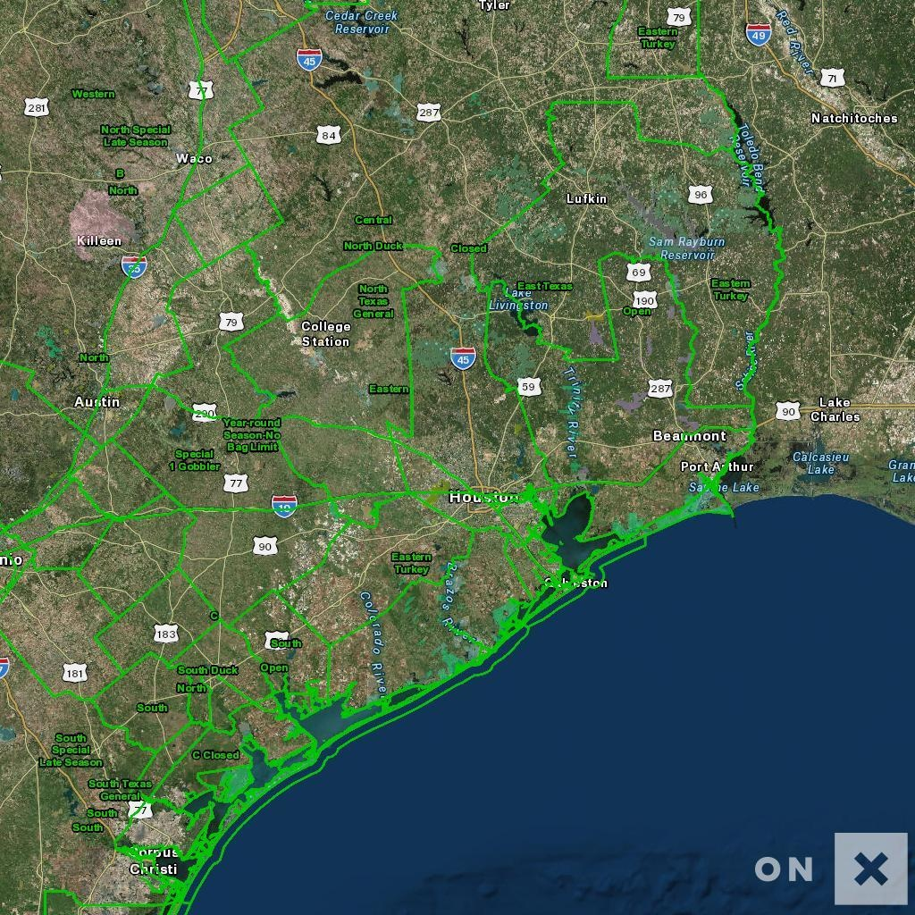 Texas Hunt Zone Open Wildlife - Texas Hunting Map