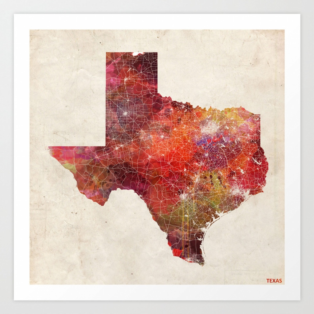 Texas Map Art Printmapmapmapswatercolors | Society6 - Texas Map Artwork