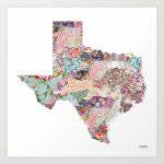 Texas Map Art Printpoeticmaps | Society6 - Texas Map Artwork