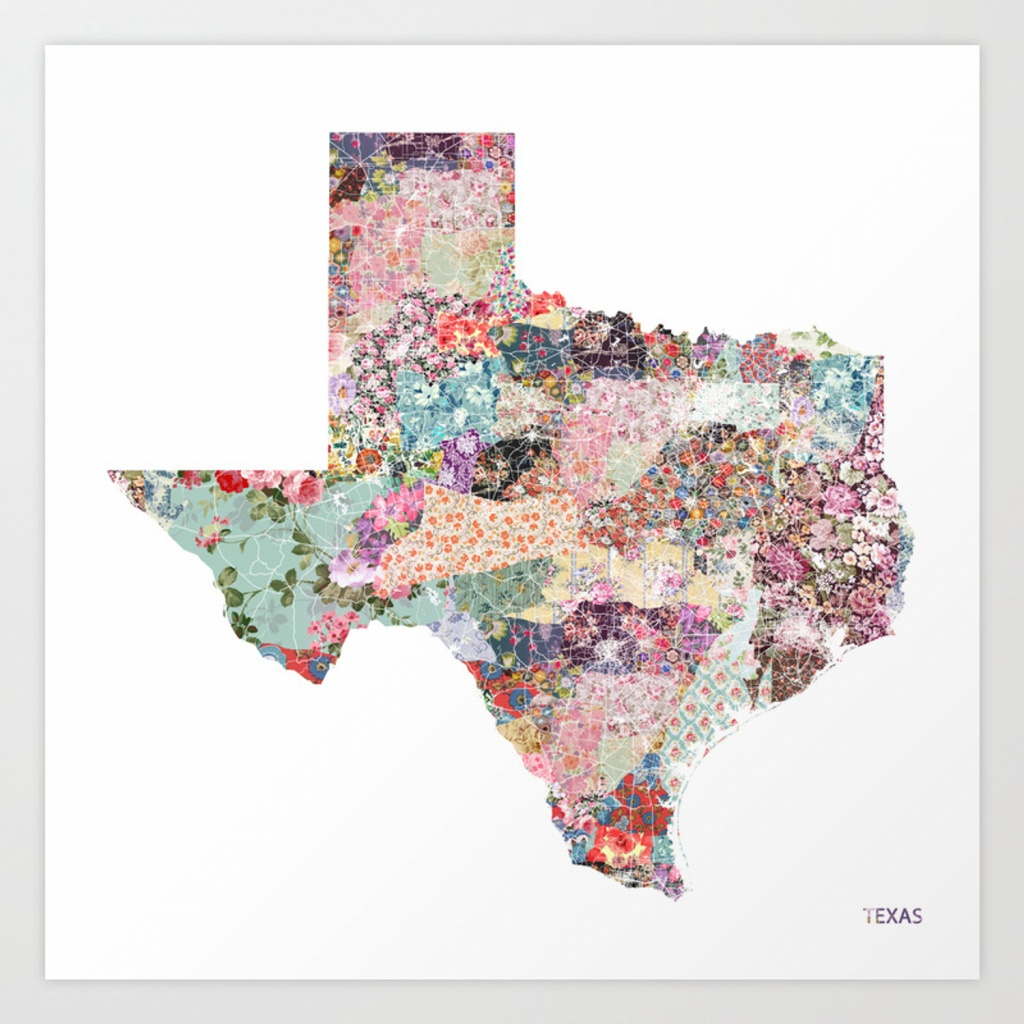 Texas Map Art Printpoeticmaps | Society6 - Texas Map Artwork