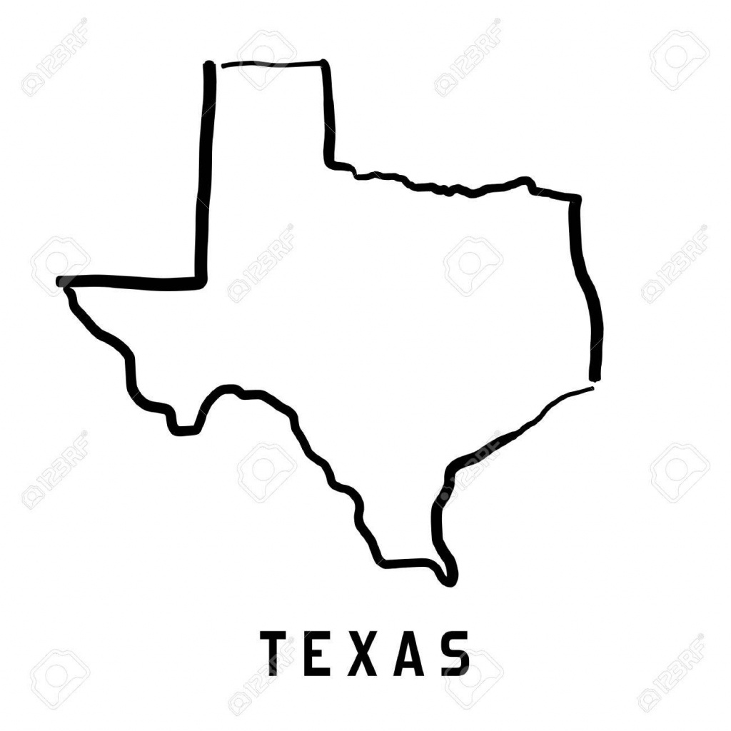 Texas Map Outline - Smooth Simplified Us State Shape Map Vector - Texas Map Vector Free